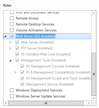 Web Server role for Windows