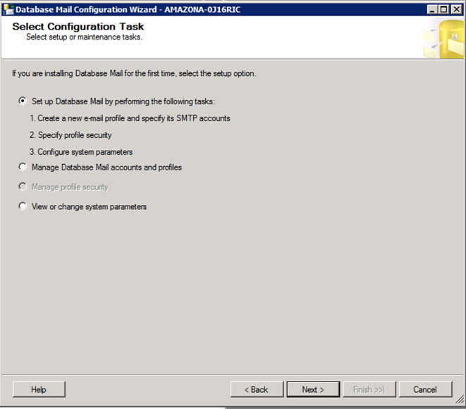 Microsoft SQL Server Select Configuration Wizard