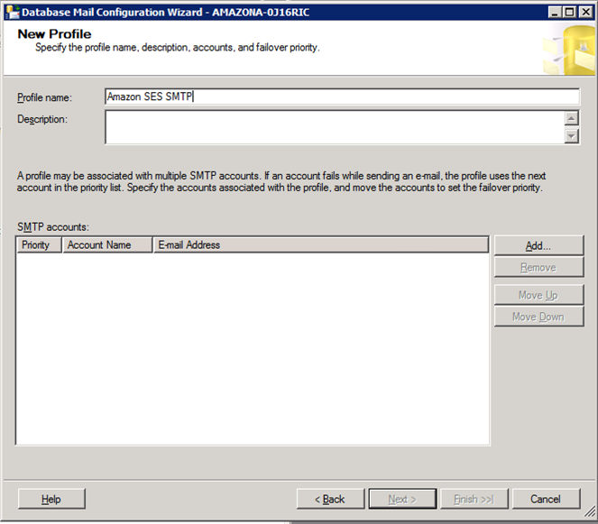 Microsoft SQL Server New Profile Wizard