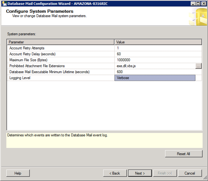 Microsoft SQL Server System Parameters