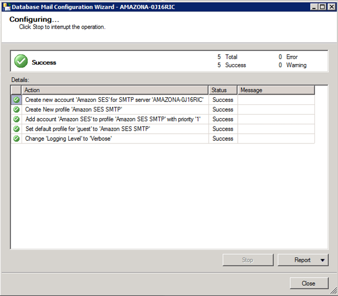 Microsoft SQL Server Configuration Succeeded