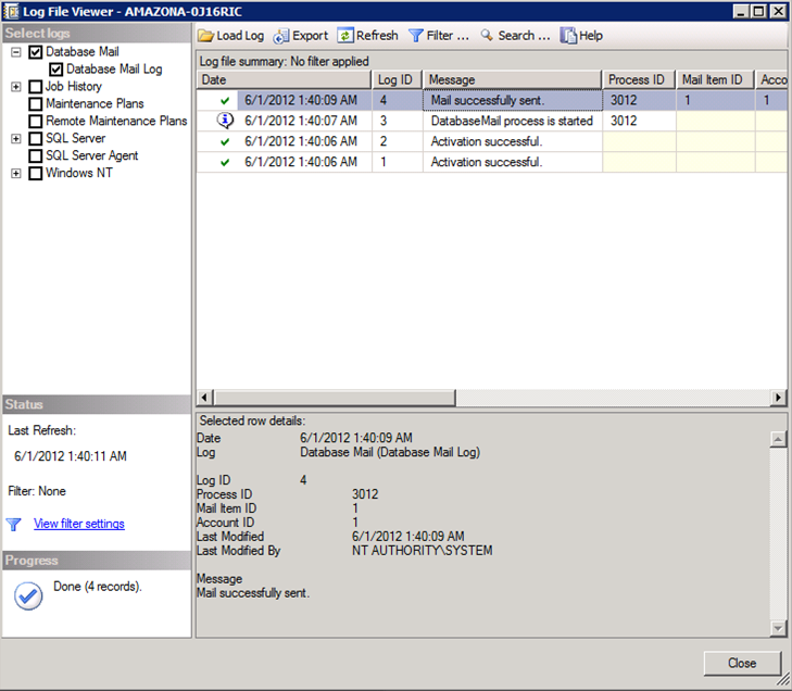 Microsoft SQL Server Log View